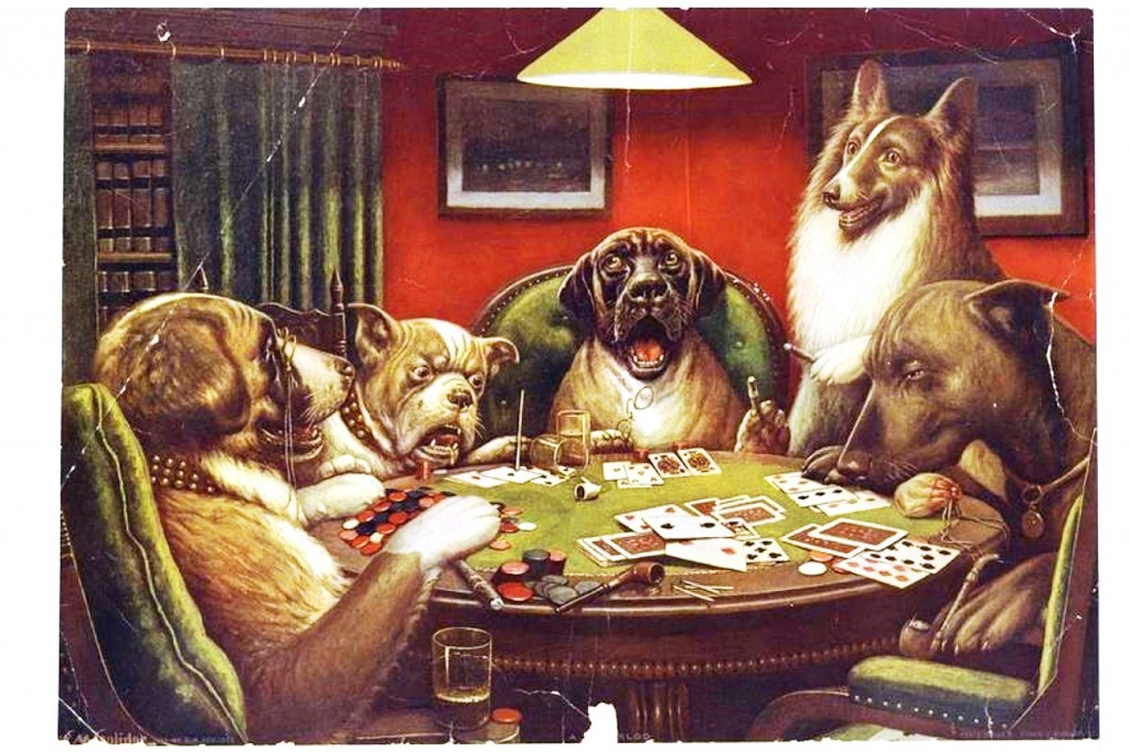 Animal-Animal-acting-human-Dogs-playing-cards