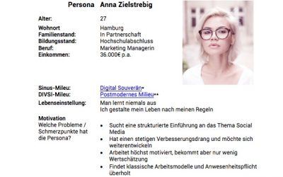 Social Media Persona Template zur 3. Auflage